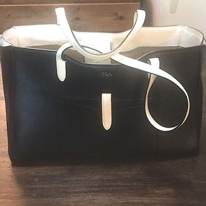 Lauren Ralph Lauren black and white leather tote